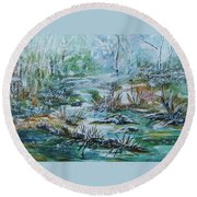 Winter Whispers On Catskill Creek Round Beach Towel