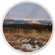 Winter Wilderness Landscape Yukon Territory Canada Round Beach Towel