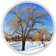 Winter Willow Round Beach Towel