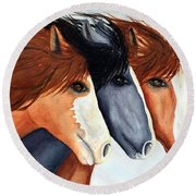 Horse Trio Round Beach Towel