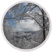 Winter Window Wonder Round Beach Towel