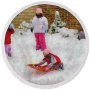 Winter - Winter Is Fun Round Beach Towel by Mike Savad