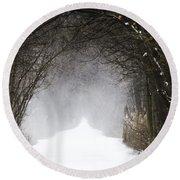 Winter Wonder Snow Tunnel Of Trees Round Beach Towel