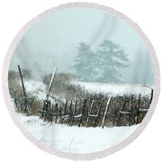Winter Wonderland - Amazing Winter Landscape With Snow Falling Round Beach Towel