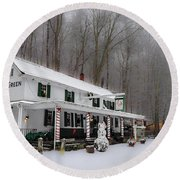Winter Wonderland At The Valley Green Inn Round Beach Towel