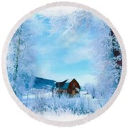 Winter Wonderland Round Beach Towel