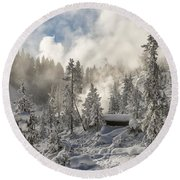 Winter Wonderland - Yellowstone National Park Round Beach Towel