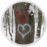 Winter Woods Romance Round Beach Towel