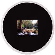 Winter Woods With Melting Snow Round Beach Towel