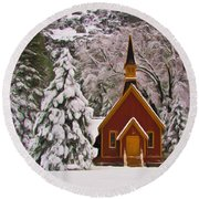 Winter Yosemite Chapel Round Beach Towel