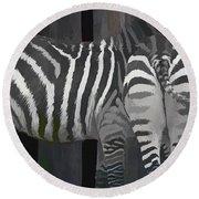 Winter Zebras Round Beach Towel