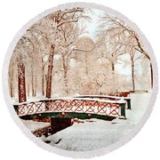 Winter's Bridge Round Beach Towel
