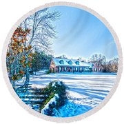 Winters Day Photo Art From The Fence Round Beach Towel