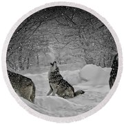 Winters Eve Howling Round Beach Towel