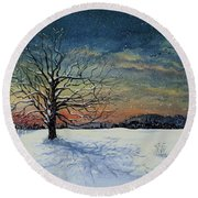 Winters Eve Round Beach Towel