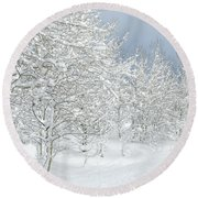 Winter's Glory - Grand Tetons Round Beach Towel by Sandra Bronstein