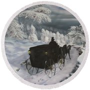 Winters Journey Round Beach Towel