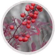 Winter's Red Round Beach Towel