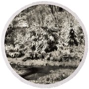 Winter's Sepia Grip Round Beach Towel