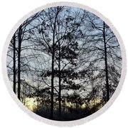Winter's Trees At Dusk Round Beach Towel