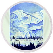 Winter's White Blanket Round Beach Towel
