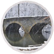 Wintertime At Bells Mill Road Round Beach Towel