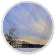Wintertime At Widener Farms Round Beach Towel