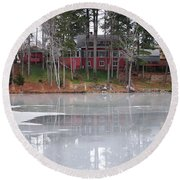 Wintery Reflection Round Beach Towel by Frozen in Time Fine Art Photography