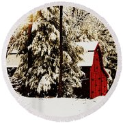 Wintry Red Barn Round Beach Towel