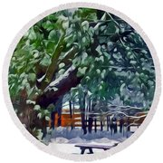 Wintry  Snowy Trees Round Beach Towel