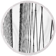 Wires Abstract Round Beach Towel