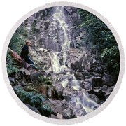 Wirt At Falls In Bc Round Beach Towel