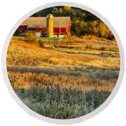 Wisconsin - Country Morning Round Beach Towel