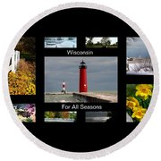 Wisconsin For All Seasons Round Beach Towel