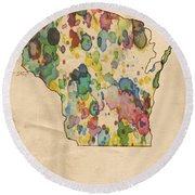 Wisconsin Map Vintage Watercolor Round Beach Towel