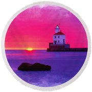 Wisconsin Point Lighthouse Round Beach Towel