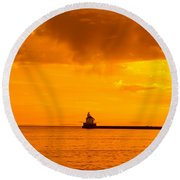 Wisconsin Point Lighthouse Sunrise 1 A Round Beach Towel