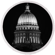Wisconsin State Capitol Building At Night Black And White Round Beach Towel