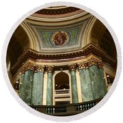 Wisconsin State Capital Building 1  Round Beach Towel