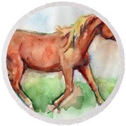 Horse Painted In Watercolor Wisdom Round Beach Towel