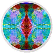 Wisdome And Mystery Abstract Pattern Artwork By Omaste Witkowski Round Beach Towel