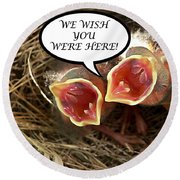 Wish You Were Here Greeting Card Round Beach Towel