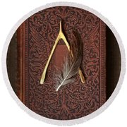 Wishbone And Feather On Antique Book Round Beach Towel