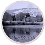 Wishing You Peace - Greeting Card Round Beach Towel