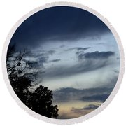 Wispy Clouds One December's Eve Round Beach Towel