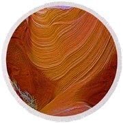 Wispy Relic In Lower Antelope Canyon In Lake Powell Navajo Tribal Park-arizona   Round Beach Towel