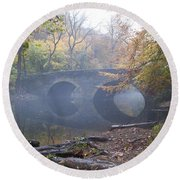 Wissahickon Creek And Bells Mill Road Bridge Round Beach Towel