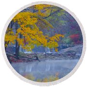Wissahickon Morning In Autumn Round Beach Towel