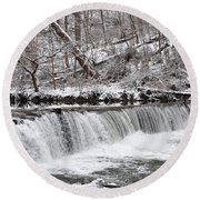 Wissahickon Waterfall In Winter Round Beach Towel by Bill Cannon