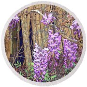 Wisteria And Old Fence Round Beach Towel